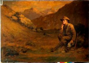 J McMaster [Soldier in a landscape 1901] painting from the South African War