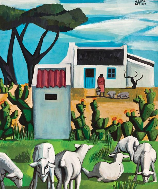 Peter Clarke Landscape White Sheep