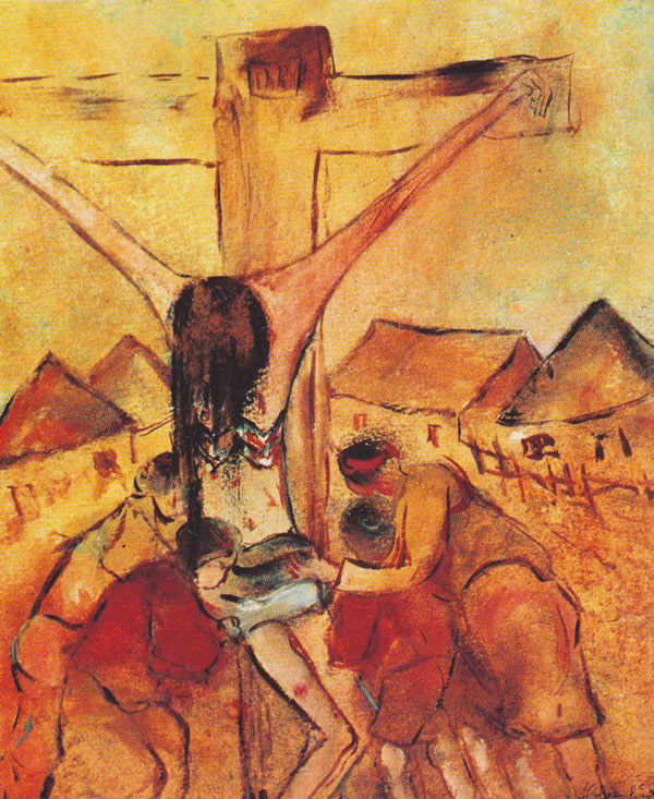 Crucifixion with village mourners