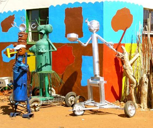 A collection of Credo's metal sculptures