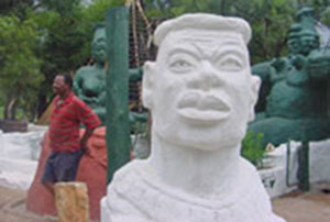 Bust of Shaka guarding the entrance to the main area