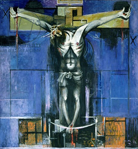 The Crucifixion, 1946 (oil on hardboard) by Sutherland, Graham (1903-80); 243.8x228.5 cm; Saint Matthew's Church, Northampton, Northamptonshire, UK; English,  in copyright