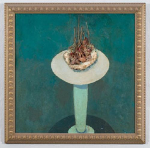 Cakes: Tapers, 1982, Oil and candles on canvas