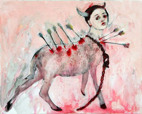 Slings and Arrows (2007). oil and glue on canvas