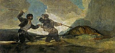 Francisco Goya, Fight with Cudgels', c. 1820–1823